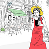 Векторный клипарт: городского женщина в уличном кафе