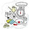 Векторный клипарт: кухонные весы и специи
