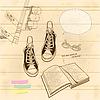 Векторный клипарт: Натюрморт книги и обуви