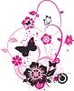 Векторный клипарт: Цветы и бабочки