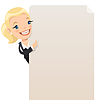 Geschäftsfrau, die leeren Plakat