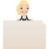 Geschäftsfrau, die leeren Plakat auf
