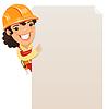 Weibliche Builder Blick auf leere Plakat