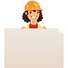 Weibliche Builder Blick auf leere Plakat auf Top