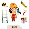 Weibliche Bauherren Icons Set