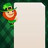Leprechaun Blick auf leere Plakat auf grün