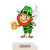 Leprechaun mit Bier raucht Pfeife