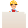 Builder Blick auf leere Plakat auf