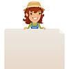 Weibliche Farmer Blick auf leere Plakat auf Top
