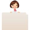 Weibliche Manager Blick auf leere Plakat auf Top
