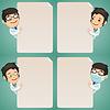 Ärzte Cartoon Charaktere Blick auf leere Plakat