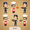 Chefs Cartoon Charaktere Set1.