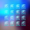 Medizinische Flat Glass Icons auf Blur Hintergrund
