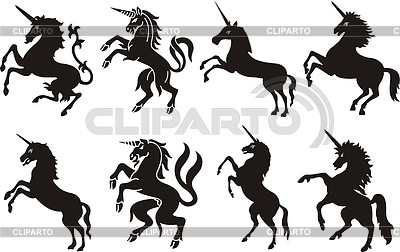 Heraldische Einhorn Silhouetten | Stock Vektorgrafik |ID 4223396