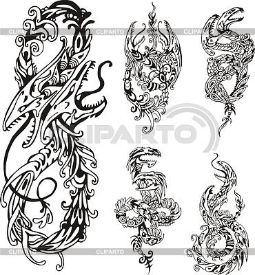 Stylizowane dwugłowe smoki | Klipart wektorowy |ID 4137167