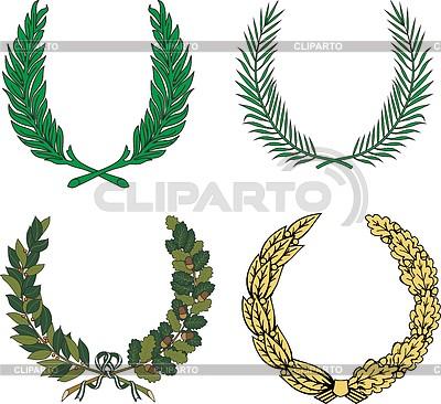 Zestaw czterech wieńce heraldycznych | Klipart wektorowy |ID 4297392