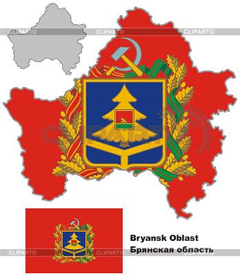Outline map of Bryansk Oblast with flag | Klipart wektorowy |ID 4346663