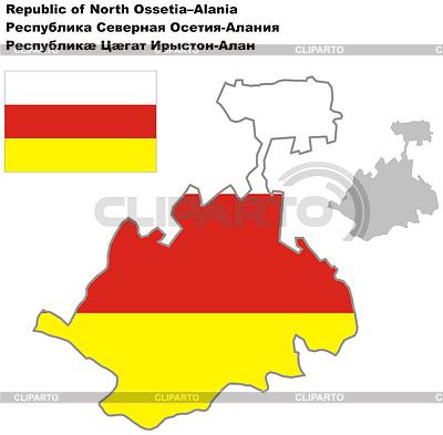 Nakreślić mapę Północnej Osetii-Alanii z flagą | Klipart wektorowy |ID 4346708