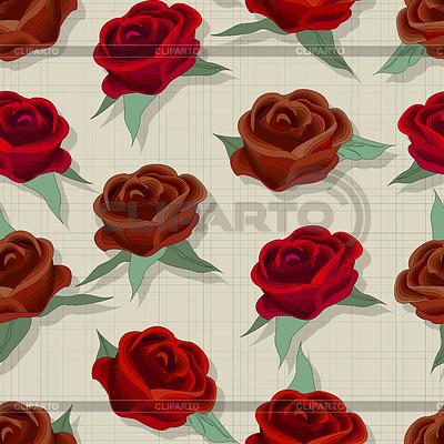 Retro style rose pattern | Klipart wektorowy |ID 4098321
