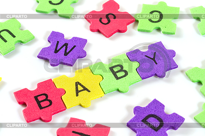 Wort Baby mit bunten Puzzle-Schaum gebildet | Foto mit hoher Auflösung |ID 4132568