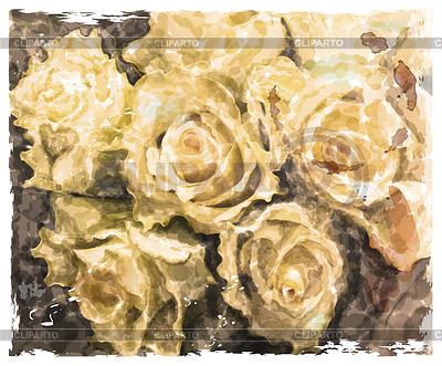 Weinlese-Aquarell-Hintergrund mit Rosen gelb | Stock Vektorgrafik |ID 4097117