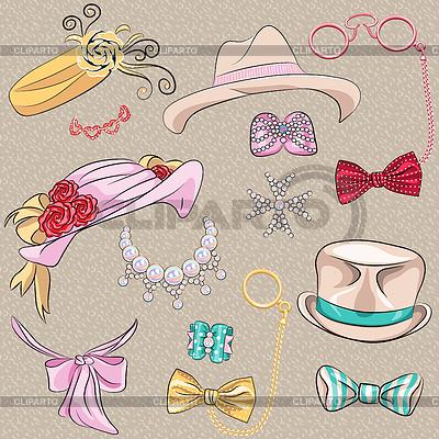 Набор шляп и аксессуаров | Векторный клипарт |ID 4138777