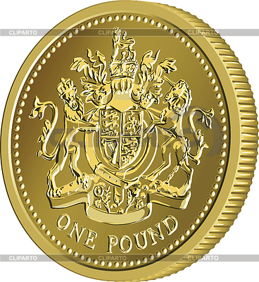 British money gold coin one pound with coat of arms | Klipart wektorowy |ID 4438495
