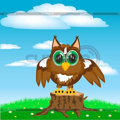 Птица сова на поляне года daytime cartoon