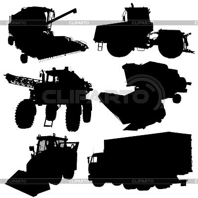 Landwirtschaftliche Fahrzeuge Silhouetten festgelegt. | Stock Vektorgrafik |ID 4202659