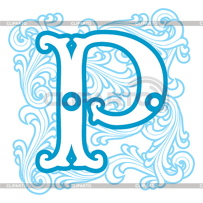 Winter vintage letter p stock vector graphics id 4094803