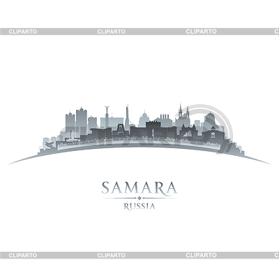 Samara Russland Skyline Silhouette weiß | Stock Vektorgrafik |ID 4097968