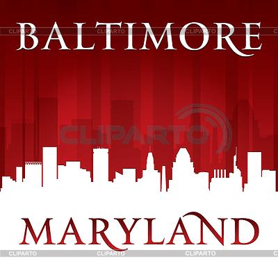 Baltimore Maryland-Stadt-Skyline-Silhouette rot | Stock Vektorgrafik |ID 4338171