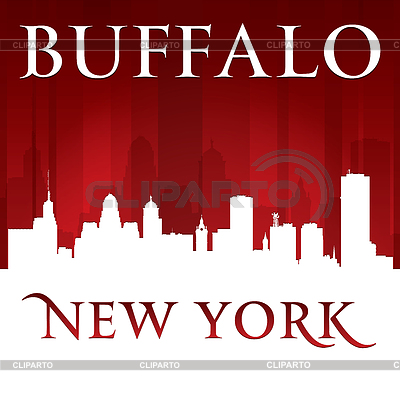 Buffalo New York City Skyline Silhouette Red Stock