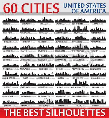 Unglaubliche Skyline Silhouetten festgelegt. Vereint | Stock Vektorgrafik |ID 4366420