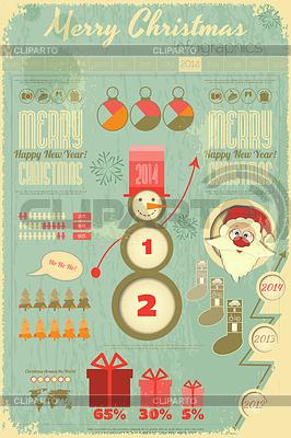 Archiwalne Christmas Infograficzna z Mikołajem | Klipart wektorowy |ID 4088229