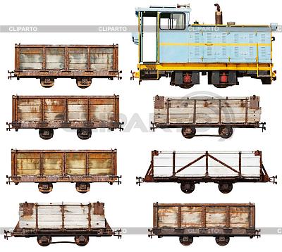 Set von Vintage-Lok und Wagen | Foto mit hoher Auflösung |ID 4180213