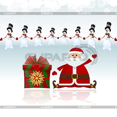 산타 클로스 눈사람에 둘러싸여 선물에 앉아 | 벡터 클립 아트 |ID 4079147