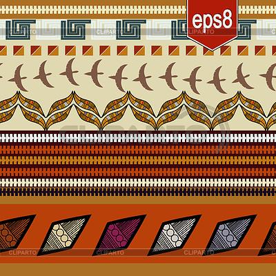 Bez szwu teksturę z etnicznych elementów, ptaków i | Klipart wektorowy |ID 4136277