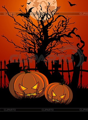 HalloweenTombstone and Pumpkins | Klipart wektorowy |ID 4360812