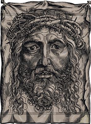 Голова Христа с терновым венцом | Векторный клипарт |ID 4165090