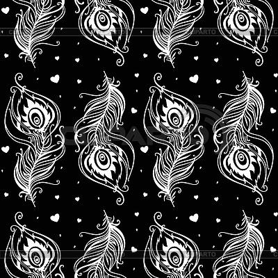 Piękne pawie pióra. Bezszwowe tło | Klipart wektorowy |ID 4470939