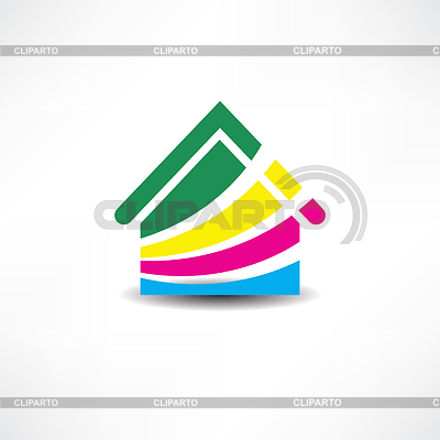 Multicolored abstraction house icon | Klipart wektorowy |ID 4116422