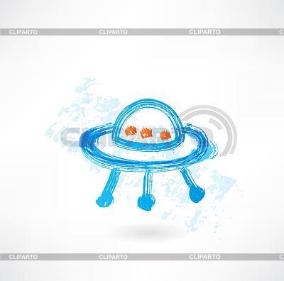 Fliegende Untertasse Grunge-Ikone | Stock Vektorgrafik |ID 4157606
