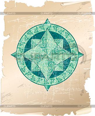 Antik Zier-Windrose auf Pergament Hintergrund | Stock Vektorgrafik |ID 4209347