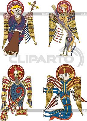 Кельтские символы четырех евангелистов | Векторный клипарт |ID 4305126