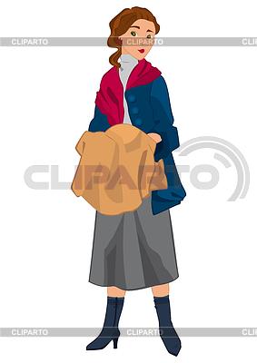 Retro-Mädchen im roten Schal | Stock Vektorgrafik |ID 4354510