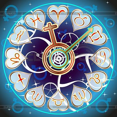 Hintergrund Vektor: Tierkreiszeichen in Form von Stunden | Stock Vektorgrafik |ID 4222169