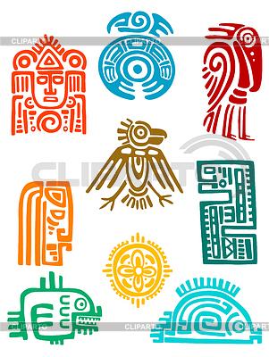 Starożytne elementy i symbole Majów | Klipart wektorowy |ID 4087432