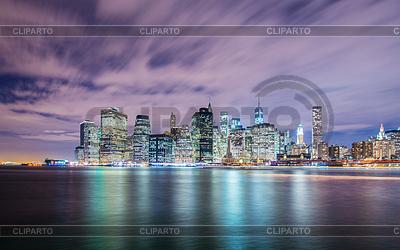 Night panorama of Manhattan in New York, USA | Foto stockowe wysokiej rozdzielczości |ID 4349228