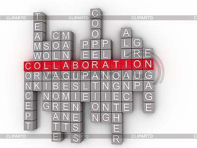 Collaboration Word Wolke Konzept auf 3D | Illustration mit hoher Auflösung |ID 4309198
